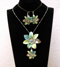 wedding photo - Turquoise Crystal Necklace, Jewelry Set, Flower Necklace, Flower Earrings, Silver Necklace Set, Crystal Necklace and Earrings