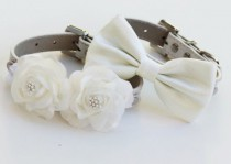 wedding photo - White Wedding Dog Collars -Two Chic Wedding Dog Collars, White Dog Bow Tie And Floral Dog Collar