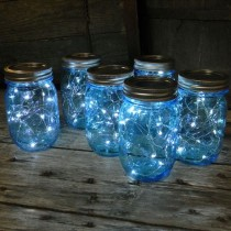 wedding photo - Mason Jar Fairy Lights, Blue Pint Wide Mouth, 16 Oz, Cool White, 12 Pack