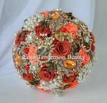 wedding photo - Terracotta Wedding Brooch Bouquet, Orange and Antique Gold Wedding Brooch Bouquet, Bridal Bouquet, Jeweled Bouquet, Gentle Autumn Bouquet