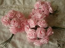 wedding photo - Pink flower picks roses wired stems millinery wedding craft supplies silk pink flowers mini roses bouquet
