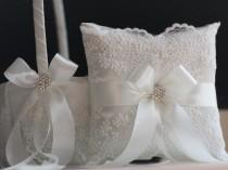 wedding photo - Wedding Pillow and Basket Set in Off-White Color  Lace Basket Pillow Set  White Lace Ring Bearer Pillow and Flower Girl Basket Ring Holder