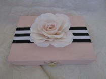 wedding photo - Black White Blush Wedding Ring BOx with a Blush Rose HIS HERS Divided ring Pillow