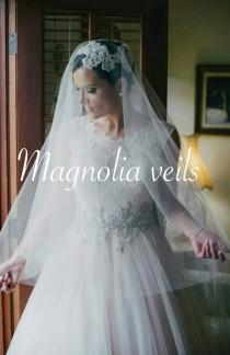 wedding photo - DROP Veil with Blusher, wedding & bridal veil, champagne, ivory, blush color, diamond white, light champagne, simple veil, floating veil
