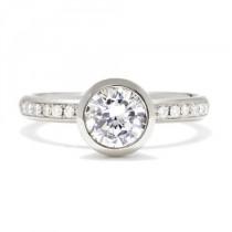wedding photo - Anne Sportun Bezel-Set Engagement Ring With Pave Diamond Band