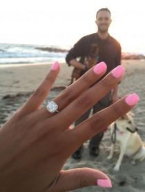 wedding photo - 14K White Gold Falling Edge Pave Diamond Engagement Ring