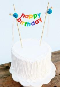 wedding photo - Birthday Cake Banner - Birthday Cake Topper - Happy Birthday Cake Banner - Rainbow Cake Garland:  Rainbow