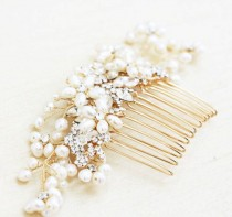 wedding photo - Gold Or Silver Freshwater Pearl And Rhinestone Large Bridal Hair Comb