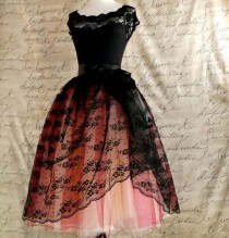 wedding photo - Black Lace And Nude Tulle Tutu Skirt. Mlle. Chantilly Lace. French Black Chantilly Lace Over Lined Tutu Skirt