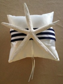 wedding photo - Nautical Starfish Preppy Navy Stripe Grosgrain Wedding Ring Bearer Pillow