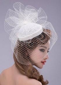 wedding photo - White Birdcage Veil Wedding Hat