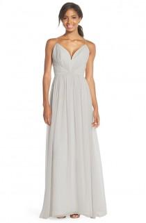 wedding photo - Draped V-Neck Chiffon Gown