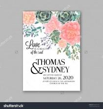 wedding photo - Wedding invitation template with succulents and rose bouquet with eucaliptus leaf
