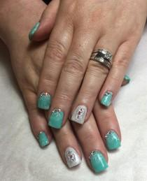 wedding photo - Day 158: Teal & Silver Nail Art