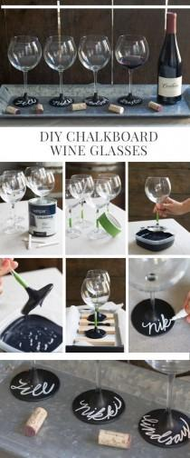 wedding photo - DIY Chalkboard Wine Glasses