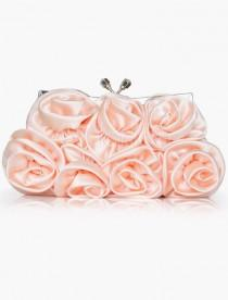 wedding photo - Satin Flower Clutch Evening Bag