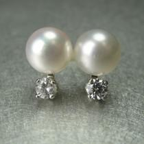 wedding photo - Pearl Diamond Satellite Earrings