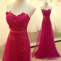 wedding photo - Pretty Rose-Red Chiffon Long Prom Dress