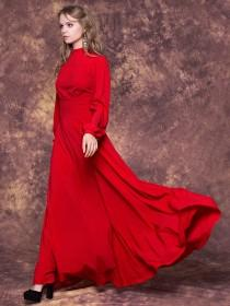wedding photo - Elegant  red maxi dress with full lenght sleeves/ Long red bridesmaid dress/ Red evening formal dress/ Evening dress long/ Red party dress