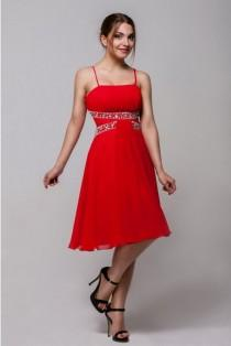 wedding photo - Red cocktail dress Flared dress knee length Chiffon gown bridesmaid Romantic dress with rhinestones Dress for the party Wedding event dress