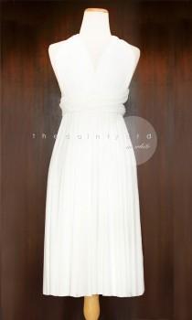 wedding photo - Short Straight Hem White Bridesmaid Dress Infinity Dress Multiway Dress Convertible Dress Twist Dress Wrap Dress Maid of Honor Dress
