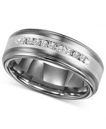 wedding photo - Men's Diamond Wedding Band In Tungsten Carbide (1/4 Ct. T.w.)