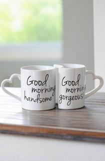 wedding photo - 'Good Morning' Ceramic Coffee Mugs