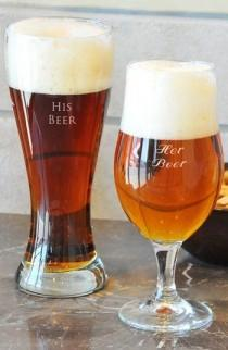 wedding photo - 'His Beer & Her Beer' Monogram Pilsner Glasses
