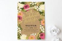 wedding photo - Floral Canopy Bachelorette Party Invitation