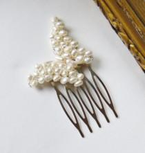 wedding photo - pearl butterfly comb freshwater ivory white pearl silver filigree butterfly hair comb pin for wedding or prom