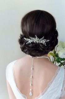 wedding photo - Bridal Hair Comb, Pearl Hair Comb, Wedding Hair Comb, Bridal Hair Piece, Silver Leaf Vintage Hair Comb, Bridal Comb, Wedding Comb, Leaf Comb