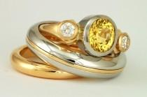 wedding photo - Custom wedding bands and engagment ring sets, platinum and 18 karat  gold, yellow sapphire and diamonds