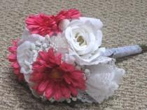 wedding photo - Pink Daisy White Rose Silk Bridal Bouquet, Silk Flower Bouquet, with Lace Doily, Wedding Bouquet