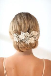 wedding photo - Wedding Lace Head Piece,  Pearl Beaded Lace Vine, Wedding Headpiece, Wedding Hair Accessory