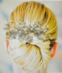 wedding photo - Monaco Wedding Hair Comb, Wedding Hair Accessories, Bridal Hair Comb, Pearl and Crystal Hair Comb, Floral Bridal Headpiece, Hair Pin
