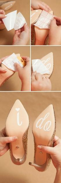 wedding photo - Learn How To Make Your Own Custom, Wedding Shoe Stickers!