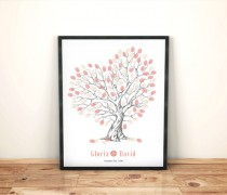 wedding photo - Heart shaped wedding tree, hand drawn thumbprint guestbook, Romantic Bride and groom gift, customised wedding guestbook, Peach wedding tree