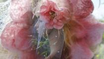 wedding photo - Pink Felt Flower Fascinator with Long Birdcage Spotted Veil for Rustic Country Wedding Handmade felted Merino Wool Flower Delicate Pink