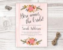 wedding photo - here comes the bride, bridal shower design, peach bridal shower invite, flower bridal shower invitation, flowers floral wedding bride love