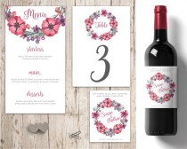 wedding photo - Pink and Purple Wedding table decorations, personalised wedding wine labels, wedding menu, wedding wreath, wedding decor table numbers