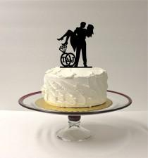 wedding photo - PERSONALIZED Cute Wedding Cake Topper With YOUR Initials of the Bride & Groom in a Wedding Ring Design SILHOUETTE Cake Topper