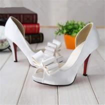 wedding photo - Buy Fashion Sweet Bow Platform Stiletto Satin Fabric White Shallow Mouth Women's Open Toe Shoes Wedding Shoes In Pumps On AliExpress