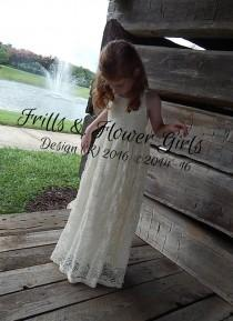 wedding photo - Boho Rustic Beach Lace Flower Girl Dress Ivory Lace Ivory Halter Boho Dress Girls Junior Bridesmaid Dress Sizes 2T up to Girls Size 1
