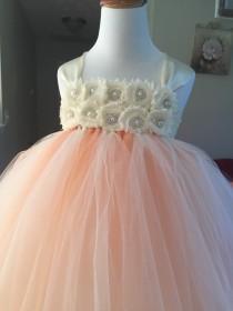 wedding photo - Ivory and Peach Flower Girl Dress - Flower girl dress - junior bridesmaid dress- bridesmaid dress- weddibg dress- tutu dress