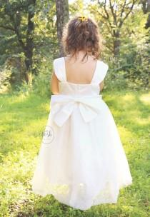 wedding photo - flower girl dress, flower girl dresses, lace baby dress, white flower girl dress, beach flower girl, country flower girl, white tulle dress