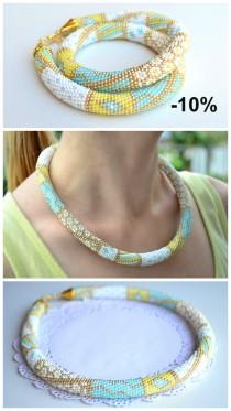 wedding photo - 10% OFF White gold mint turquoise beaded crochet necklace jewelry, pachwork print beaded crochet necklace, trending statement necklace