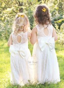 wedding photo - lace flower girl dress, flower girl dresses, lace baby dresses, christening dress, white lace dress, big bow, flower girl dress white lace