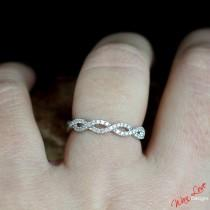 wedding photo - Diamond Infinity womans Wedding Band Ring Split Shank 14k 18k White Yellow Rose Gold-Platinum Custom made Engagement Anniversary Wedding