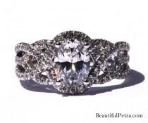 wedding photo - TWIST OF FATE - 14k - Oval Diamond Engagement Ring - Halo - Unique - Swirl - Pave - 1/2 Carat Center diamond - Beautiful Petra Rings - Bp024