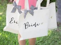 wedding photo - Wedding Bags for Bridal Party, Bridesmaids Gifts Canvas Tote Bag for Bride & Friends, Stripes Glitter Bridal Shower Gifts  ( Item - BBR300)